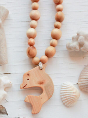 Kangaroo Care Wooden Necklace Dolphin Pendant