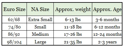 Disana Wool Cover Sizing Chart