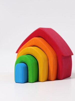 Grimm Wooden Stacking Rainbow House 2