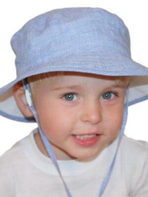 Puffin Gear Summer Day Linen Camp Hat Blue Check