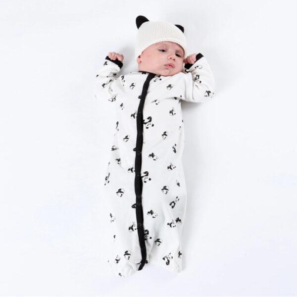 Under the Nile Organic Footie Bunting Panda Print