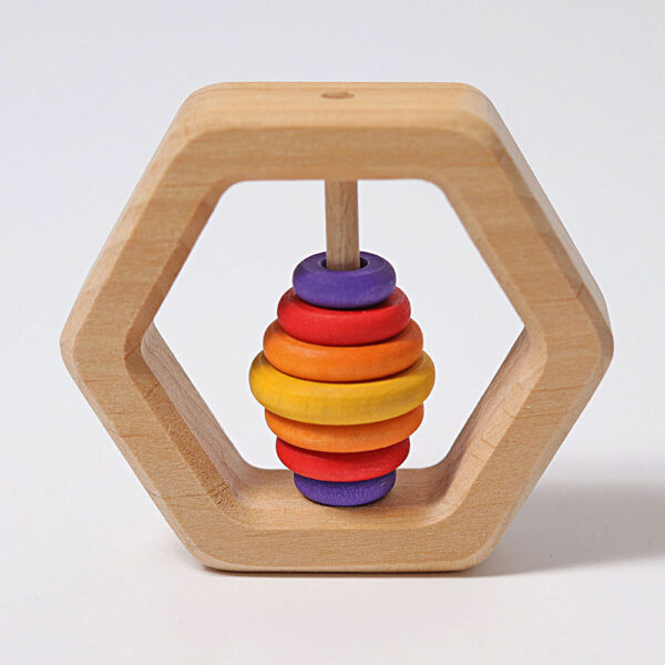 Wooden Hexagon Rattle by Grimm