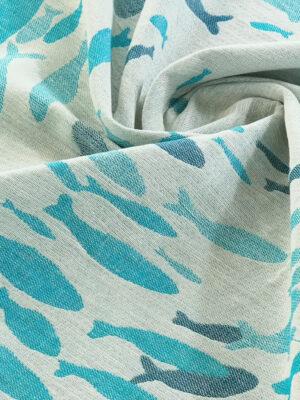 DIDYMOS Swirling Fishies Blue Linen Blanket